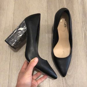 Marble Heel Black 6.5 Women's Pumps Heels Leather